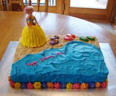 sheet cake made for a birthday party with a luau theme. Hula dancer is also cake. Flip flops are homemade chocolat Birthday Sheet Cakes, Frozen Birthday Cake, Luau Birthday, Frozen Party, Birthday Ideas, Birthday Parties, Luau Pool Parties, Luau Party, Party Fun