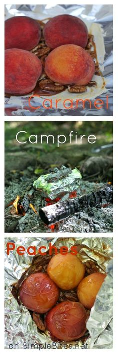 Four ideas for campfire-roasted fruit (recipe: Caramel Peaches with Pecans) from @Aimee | Simple Bites