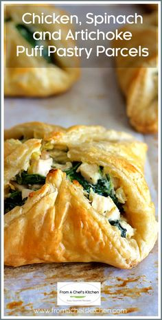 """""""I made these beauties for Mother's Day and they were magnificent! These will now be a go-to recipe for me."""" -- Chicken, Spinach and Artichoke Puff Pastry Parcels are super elegant and perfect for your spring special occasion! #puffpastry #appetizer #chicken #spinach #artichoke Puff Pastry Shell Recipe, Puff Pastry Chicken, Spinach Puff Pastry, Frozen Puff Pastry, Spinach Puff Recipe, Chicken Puffs, Savoury Pastry Recipe, Puff Pastry Recipes Savory, Puff Pastry Appetizers"""