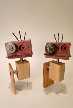 Artsy wooden robots