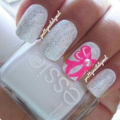 White Glitter Nails With Pink Bow