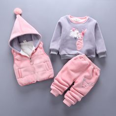 b98332d0535 3 Unids Ciervos Animal T shirt + Pants + Chaqueta de Invierno Bebé Ropa de  Algodón