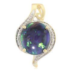 Pendentif en or serti d'une Opale noire de Lightning Ridge - 9672EG | Juwelo Bijouterie