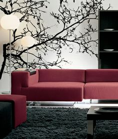 Gio Pagani, Not sure if this is wallpaper or a decal, but I also like the idea of large decals as being the focal point of a room and designing the layout and selecting furniture and accessories to compliment it.