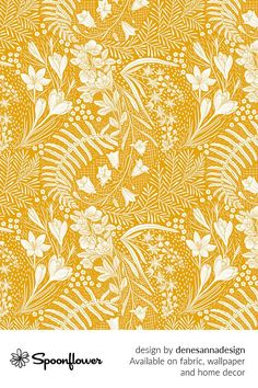 Customize your own home decor, #wallpaper and #fabric at Spoonflower. Shop your favorite indie designs on #fabric, #wallpaper and home decor products on Spoonflower, all printed with #eco-friendly inks and handmade in the United States. #patterndesign #textildesign #pattern #digitalprinting #homedecor #Forest #Flowers #paisley #pattern #mustard #yellow Forest Flowers, Fabric Wallpaper, Paisley Pattern, Floral Designs, Business Design, Mustard Yellow, Watercolor Flowers, Custom Fabric, Spoonflower