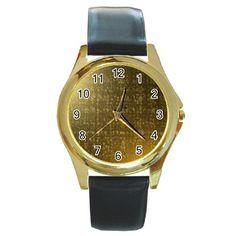 Gold Round Leather Watch (Gold Rim)