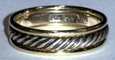 David Yurman Cable Band Ring Sterling Silver & 14k Yellow Gold 6mm Size 12…