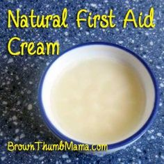 Don't put chemical creams on your kids' scrapes. This natural first-aid cream is safe and promotes healing naturally! BrownThumbMama.com