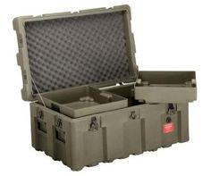 Loadmaster Military Footlocker Case with Casters, Removable Trays, Lockable Hinged Lid, from ECS Case, Olive Drab