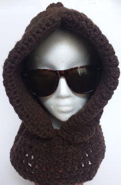 Gorro con cuello, lana gruesa. Crochet.