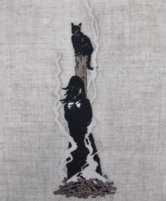 "adipocere: "" Hand embroidery on natural linen, for Superchief Gallery L.A. show, ARTESATANICOS - Opening October 17th. """