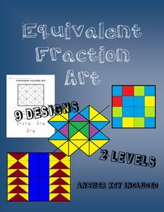 Standards:Grade 3 Numbers and OperationsCCSS.MATH.CONTENT.3.NF.A.3.BRecognize and generate simple equivalent fractions, e.g., 1/2 = 2/4, 4/6 = 2/3. Explain why the fractions are equivalent, e.g., by using a visual fraction model.*although this is a direct grade 3 standard, the worksheets could be used at any grade to give students practice with equivalent fractionsOverview:These worksheets combine math and art.