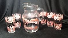 Retro Pitcher and Glasses Set Pink and Black by hillsidehomearts
