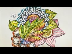 Glass Flowers | Colored Pencil Tutorial | Zentangle Inspired Art - YouTube