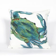 We love the painterly look this crab throw pillow--it's perfect for brightening up a sunroom. | $65