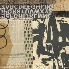 """As the words cut from a 1977 typed fanzine manuscript state, """"I would like an explanation."""" Start Talking Mixed-media abstract collage with vintage papers, art papers, acrylic paint and…"""