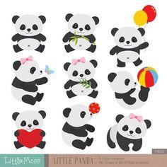 Little Panda Clipart by LittleMoss on Etsy