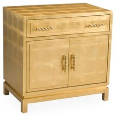 Check out this item at One Kings Lane! Theo Lacquer Cabinet, Gold Leaf
