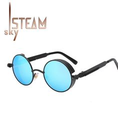 10ef4ec42d Gothic Steampunk Mens Sunglasses Coating Mirrored Sunglasses Round Circle  Sun glasses Retro Vintage Gafas Masculino Sol