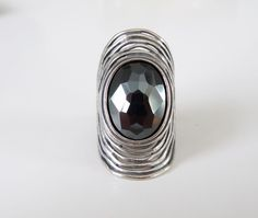 Or Paz Faceted Gray Hematite Sculpted Sterling Silver Knuckle Tall Ring Size 6 #OrPaz #Statement
