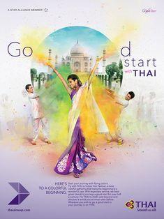 Good Start (Thai Airways) on Behance Creative Poster Design, Ads Creative, Creative Posters, Creative Advertising, Graphic Design Posters, Advertising Design, Visual Advertising, Advertising Ideas, Banner Design