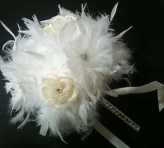IVORY BLING Crystal Feather & Flower Bridesmaid Bouquet - White Feathers Bride Maid or Toss Wedding Bouquets Rose Custom Colors. $50.00, via Etsy.