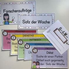 S A T Z D E R W O C H E Jede Woche wird es einen neuen Satz geben, der anhand ve. S A T D E R W O C E E Each week, there will be a new set that needs to be examined using different researcher assign Secondary School, Primary School, Education Issues, Teaching Profession, See And Say, English Lessons, Classroom Management, Teacher, Bell Ringers
