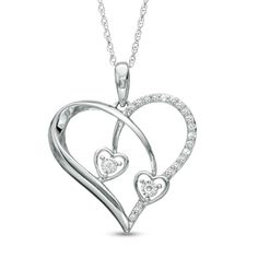 1/10+CT.+T.W.+Diamond+Triple+Heart+Pendant+in+10K+White+Gold