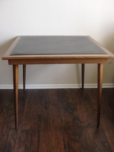 Vintage Mid Century Modern Wood and Black Vinyl Cosco Folding Card Table by marketsquareus on Etsy