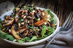 Mushroom salad with caramelized onions, black lentils and capers   www.viktoriastable.com