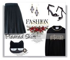 """""""Pleated Skirt"""" by railda-pereira on Polyvore featuring moda, MSGM, Moschino, Gwyneth Shoes, Armenta, Nearly Natural e Cathy Waterman"""