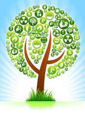 Tree Environmental Conservation Green Vector Button Pattern. vector art illustration