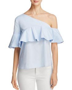 Marled One Shoulder Ruffle Top - 100% Exclusive
