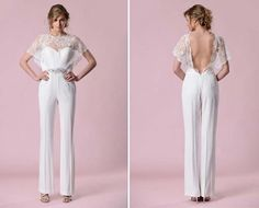 Image result for wedding pantsuit with train