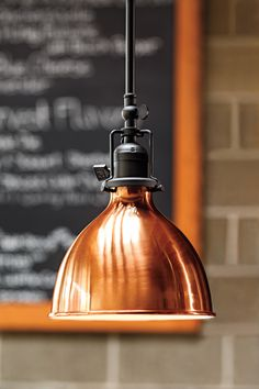 Another early american industrial style light. The copper lamp adds warmth and contrast to the design. Copper Light Fixture, Copper Lamps, Dining Room Light Fixtures, Copper Lighting, Dining Room Lighting, Modern Lighting, Pendant Lighting, Lighting Design, Brass Pendant