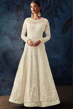 7d5159562e1 White Net Embroidered Anarkali Gown - LSTV02440 Anarkali Gown