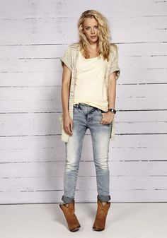 lighter wash, feminine. playful and trendy but not too young.
