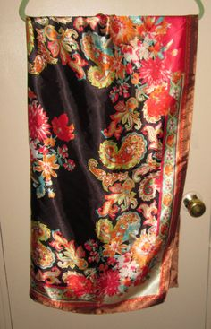 Vintage Silky Scarf Floral and Paisley Print Made by RitasGarden, $15.95