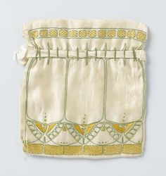 Pouch of cream silk, embroidered with stylized butterfly pattern in green and yellow silk, anonymous, ca 1910 Craftsman Style Decor, Art Nouveau Pattern, Embroidered Bag, Famous Art, Egg Art, Butterfly Pattern, Arts And Crafts Movement, Fashion Details, Handicraft