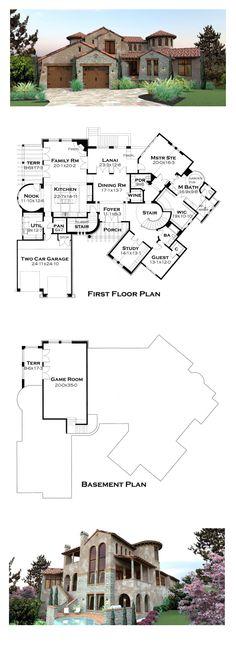 Italian House Plan 65881 | Total Living Area: 4373 sq. ft., 4 bedrooms and 4.5 bathrooms. #houseplan #italianplan