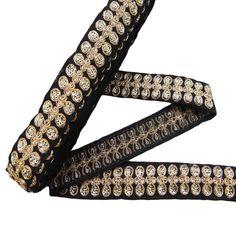 Sequin Ribbon Trim Supplies1.2 Width Black by Indianbeautifulart