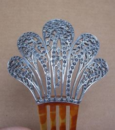 Large Aluminum Hair Comb Late Victorian Hair Accessory from spanishcomb on Ruby Lane