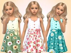 Set of 6 girls bright summer dresses for everyday and party wear  Found in TSR Category 'sims 4 Female Child Everyday'