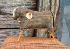 Large Primitive Cow Doll Shelf Sitter or Tuck by CaneRiverCrafts