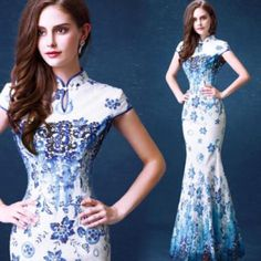 #Chinese #womens party prom #wedding mermaid dress ball gown cheongsam embroidery,  View more on the LINK: http://www.zeppy.io/product/gb/2/371652007432/