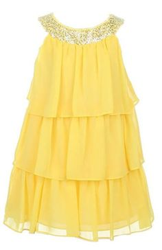 Sweet Kids Girls Triple Tiered Chiffon Flirty Party Flower Girl Dress (Yellow)