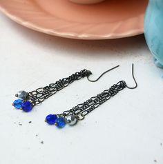 Blue Chain and Bead Earrings Long Earrings Brass by TEHWomen, $16.00
