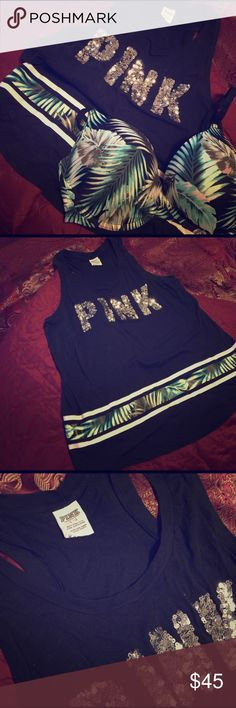 VSPINK Tropical Print Sequin Tank+ Push-Up Bra VSPINK Tropical Print  🌴 Sequin Tank Top & matching Push-Up Bra Bundle. Tank size; Large (loose fit) and bra size: 36DD. Feel free to inquire on separate purchases 😉 PINK Victoria's Secret Other