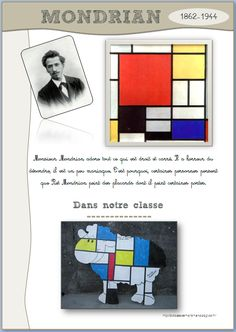 could apply to stained glass project for class windows Piet Mondrian, Mondrian Kunst, Mondrian Dress, Art Montessori, Visual Art Lessons, Object Lessons, Bible Lessons, Classe D'art, Pop Art