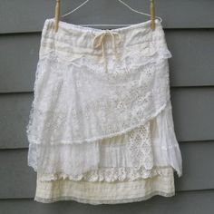 How to Make Upcycled Clothing   Tattered Lace Layered Skirt Boho Style - Upcycled Vintage... review ...